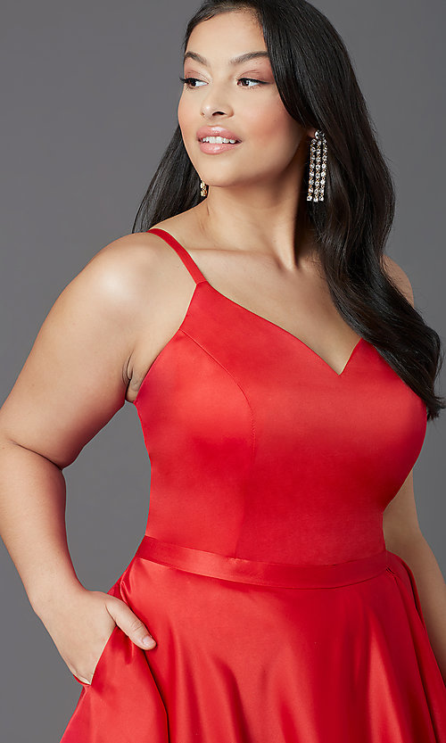 Image of plus-size high-low prom dress in red satin. Style: SC-PL-PG-2001 Detail Image 1