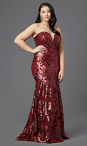 Image of long plus-size strapless sweetheart prom dress. Style: SC-PL-PG-2003 Front Image