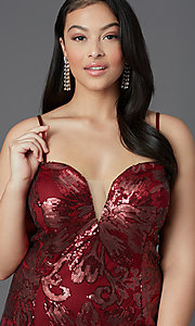 Image of long plus-size strapless sweetheart prom dress. Style: SC-PL-PG-2003 Detail Image 1