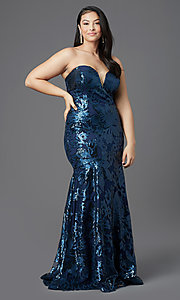 Image of long plus-size strapless sweetheart prom dress. Style: SC-PL-PG-2003 Detail Image 3