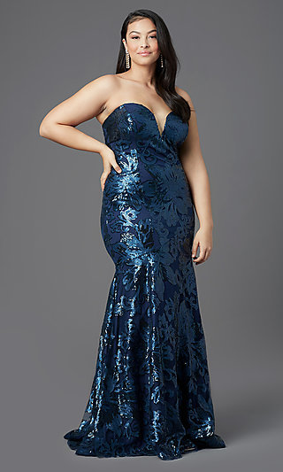 Long Plus-Size Strapless Sweetheart Prom Dress