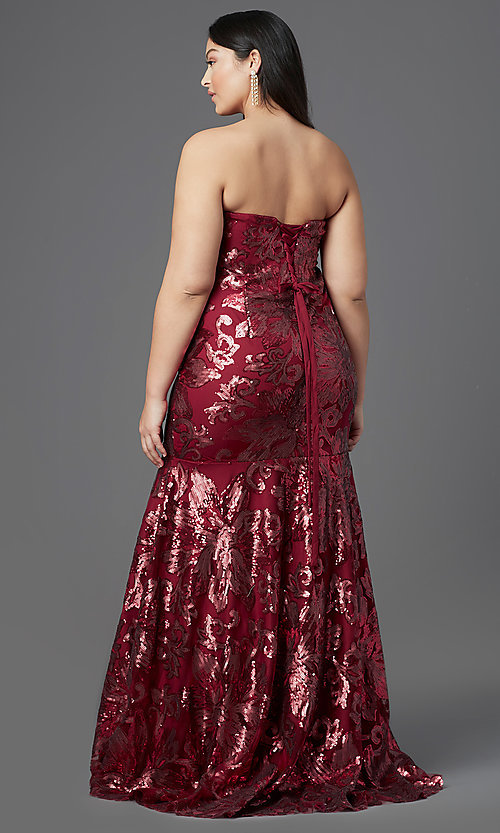 Image of long plus-size strapless sweetheart prom dress. Style: SC-PL-PG-2003 Back Image