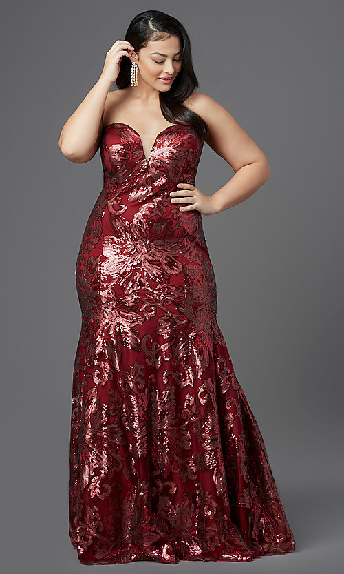Image of long plus-size strapless sweetheart prom dress. Style: SC-PL-PG-2003 Detail Image 2