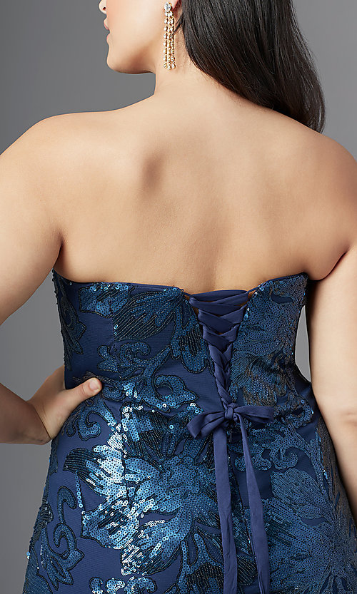 Image of long plus-size strapless sweetheart prom dress. Style: SC-PL-PG-2003 Detail Image 5