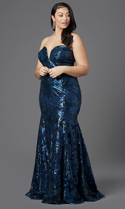 Image of long plus-size strapless sweetheart prom dress. Style: SC-PL-PG-2003 Detail Image 6