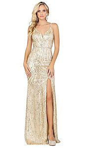 Image of corset-back long metallic sequin formal prom dress. Style: DQ-2826 Detail Image 8