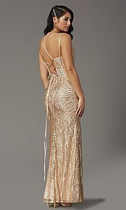 Image of corset-back long metallic sequin formal prom dress. Style: DQ-2826 Back Image