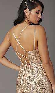 Image of corset-back long metallic sequin formal prom dress. Style: DQ-2826 Detail Image 1