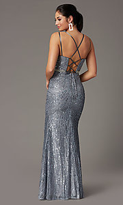 Image of corset-back long metallic sequin formal prom dress. Style: DQ-2826 Detail Image 4