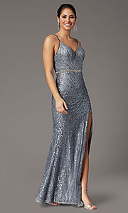 Image of corset-back long metallic sequin formal prom dress. Style: DQ-2826 Detail Image 6