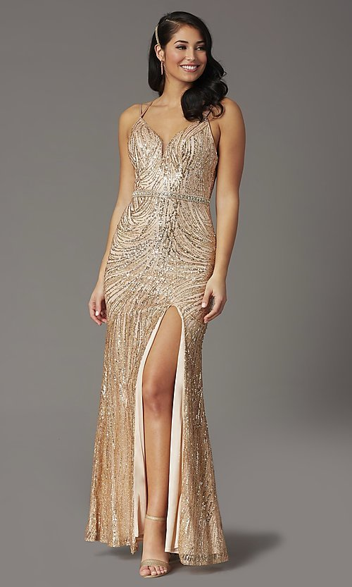 Image of corset-back long metallic sequin formal prom dress. Style: DQ-2826 Front Image