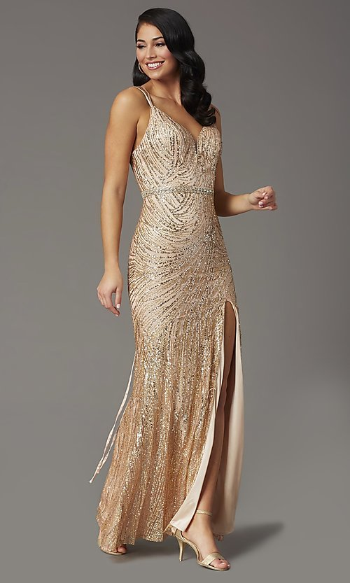 Image of corset-back long metallic sequin formal prom dress. Style: DQ-2826 Detail Image 2