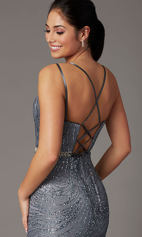 Image of corset-back long metallic sequin formal prom dress. Style: DQ-2826 Detail Image 5