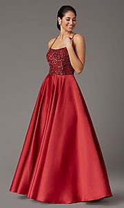 Image of burgundy red sequin-bodice long prom dress. Style: DQ-2828 Front Image