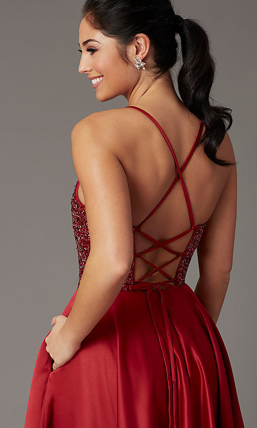 Image of burgundy red sequin-bodice long prom dress. Style: DQ-2828 Detail Image 2