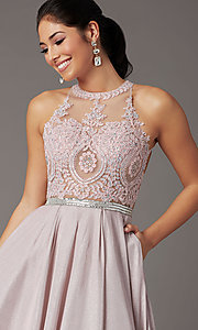 Image of embellished-bodice long glitter-knit prom dress. Style: DQ-2829 Detail Image 1
