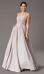 Image of embellished-bodice long glitter-knit prom dress. Style: DQ-2829 Detail Image 2