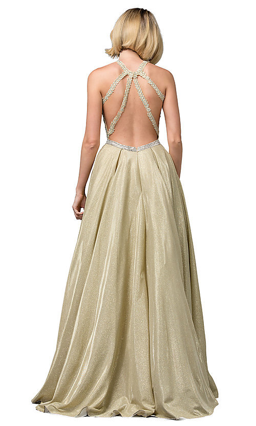 Image of embellished-bodice long glitter-knit prom dress. Style: DQ-2829 Detail Image 4