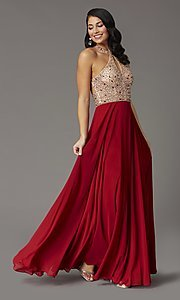 Image of long beaded-bodice high-neck formal prom dress. Style: DQ-2838 Detail Image 3