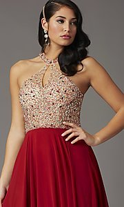 Image of long beaded-bodice high-neck formal prom dress. Style: DQ-2838 Detail Image 5