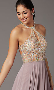 Image of long beaded-bodice high-neck formal prom dress. Style: DQ-2838 Detail Image 8
