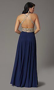 Image of long beaded-bodice high-neck formal prom dress. Style: DQ-2838 Back Image