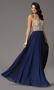 Image of long beaded-bodice high-neck formal prom dress. Style: DQ-2838 Front Image