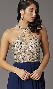 Image of long beaded-bodice high-neck formal prom dress. Style: DQ-2838 Detail Image 2