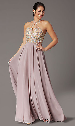 Long Beaded-Bodice High-Neck Formal Prom Dress
