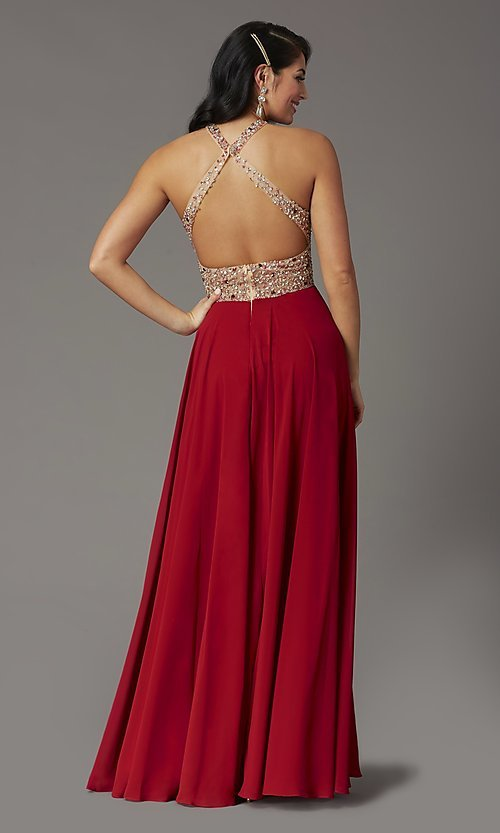 Image of long beaded-bodice high-neck formal prom dress. Style: DQ-2838 Detail Image 4