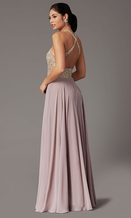 Image of long beaded-bodice high-neck formal prom dress. Style: DQ-2838 Detail Image 7