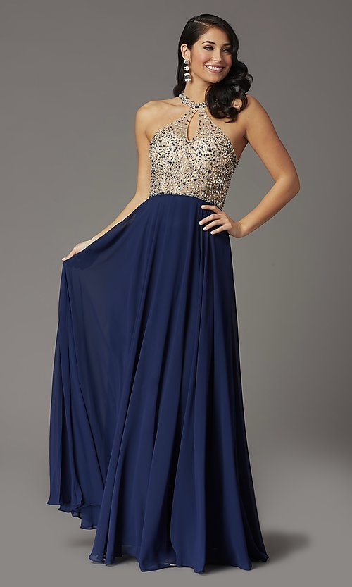 Image of long beaded-bodice high-neck formal prom dress. Style: DQ-2838 Detail Image 1
