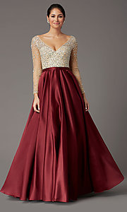 Image of long-sleeve beaded-bodice formal prom dress. Style: DQ-2840 Front Image