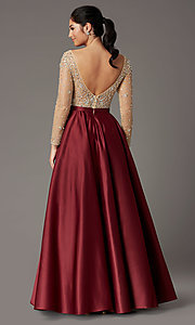 Image of long-sleeve beaded-bodice formal prom dress. Style: DQ-2840 Detail Image 4
