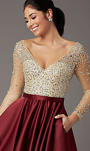 Image of long-sleeve beaded-bodice formal prom dress. Style: DQ-2840 Detail Image 5