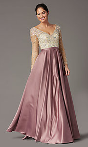 Image of long-sleeve beaded-bodice formal prom dress. Style: DQ-2840 Detail Image 3