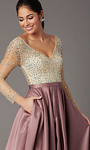 Image of long-sleeve beaded-bodice formal prom dress. Style: DQ-2840 Detail Image 1