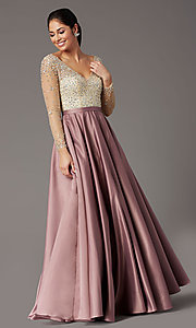 Image of long-sleeve beaded-bodice formal prom dress. Style: DQ-2840 Detail Image 2