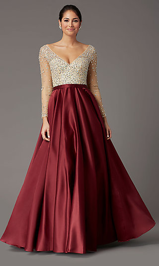 Long-Sleeve Beaded-Bodice Formal Prom Dress