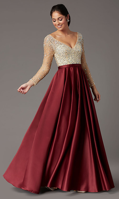 Image of long-sleeve beaded-bodice formal prom dress. Style: DQ-2840 Detail Image 6