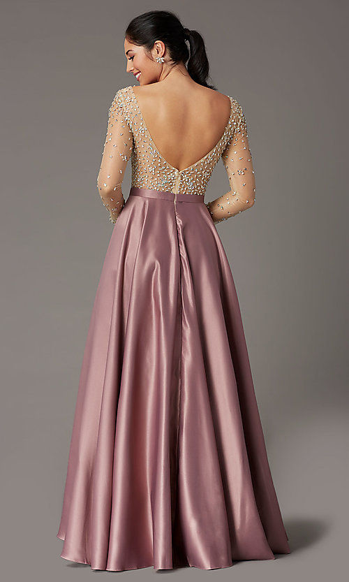 Image of long-sleeve beaded-bodice formal prom dress. Style: DQ-2840 Back Image