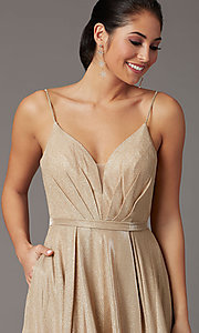Image of glitter-knit long formal prom dress with pockets. Style: DQ-2867 Detail Image 5