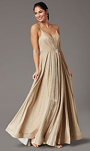Image of glitter-knit long formal prom dress with pockets. Style: DQ-2867 Detail Image 6
