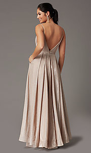 Image of glitter-knit long formal prom dress with pockets. Style: DQ-2867 Back Image