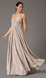 Image of glitter-knit long formal prom dress with pockets. Style: DQ-2867 Detail Image 2