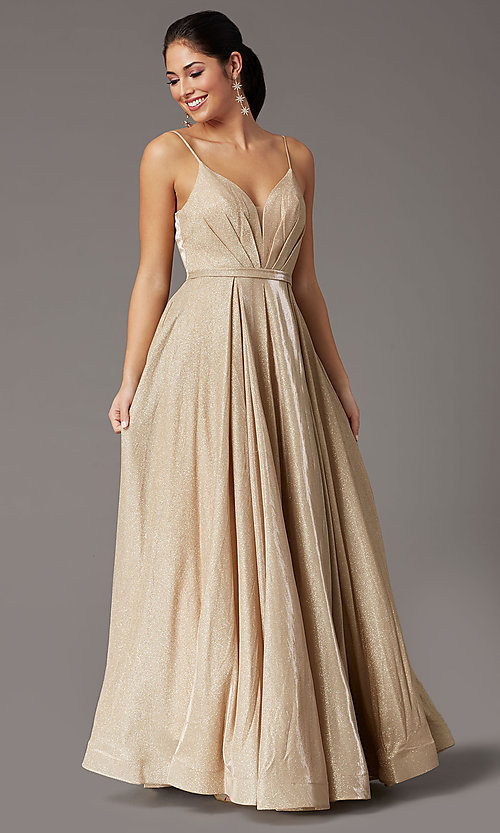 Image of glitter-knit long formal prom dress with pockets. Style: DQ-2867 Detail Image 3