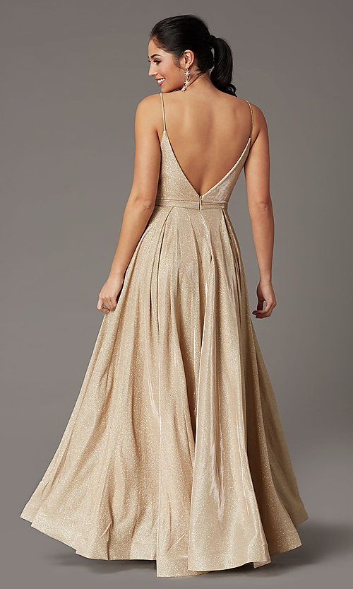 Image of glitter-knit long formal prom dress with pockets. Style: DQ-2867 Detail Image 4