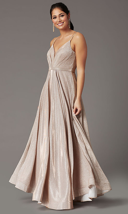 Image of glitter-knit long formal prom dress with pockets. Style: DQ-2867 Front Image