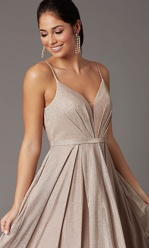 Image of glitter-knit long formal prom dress with pockets. Style: DQ-2867 Detail Image 1
