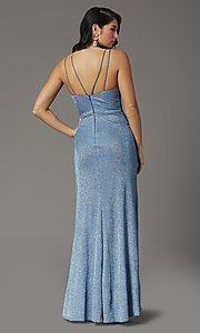 Image of glitter-knit faux-wrap long formal prom dress. Style: DQ-2875 Back Image